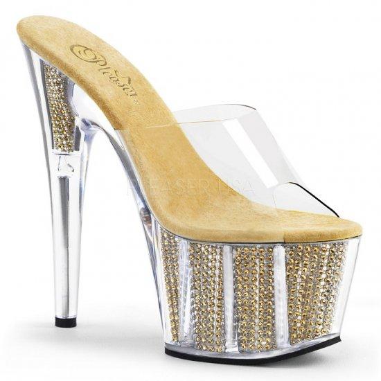 取寄せ靴 キラキラ ラインストーン 厚底 ミュール サンダル 17.5cmピンヒール クリア 金 ゴールド Pleaser プリーザー 大きいサイズ…