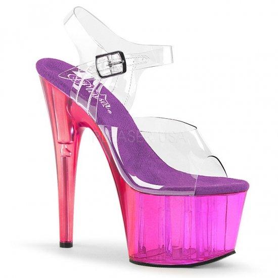 取寄せ靴 新品 ベルト付き 厚底サンダル 17.5cmピンヒール クリア 紫 パープル Pleaser プリーザー 大きいサイズ…