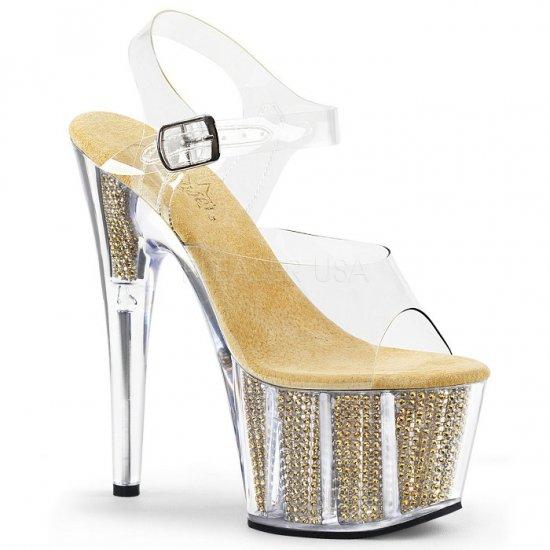 取寄せ靴 送料無料 キラキラ ラインストーン ベルト付き 厚底 サンダル 17.5cmピンヒール クリア 金 ゴールド Pleaser プリーザー 大きいサイズ…