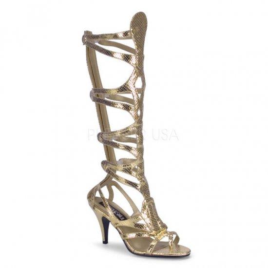 取寄せ靴 コスプレ ロングブーツ サンダル ジッパー付き 9cmヒール 金 ゴールド ヘビ柄 つや消し FUNTAZMA ファンタズマ 大きいサイズ…