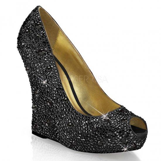 取寄せ靴 新品 ピープトゥ ウェッジソール きらきらラインストーン付き 厚底パンプス 13.5cmヒール 黒 ブラック サテン 大きいサイズ…