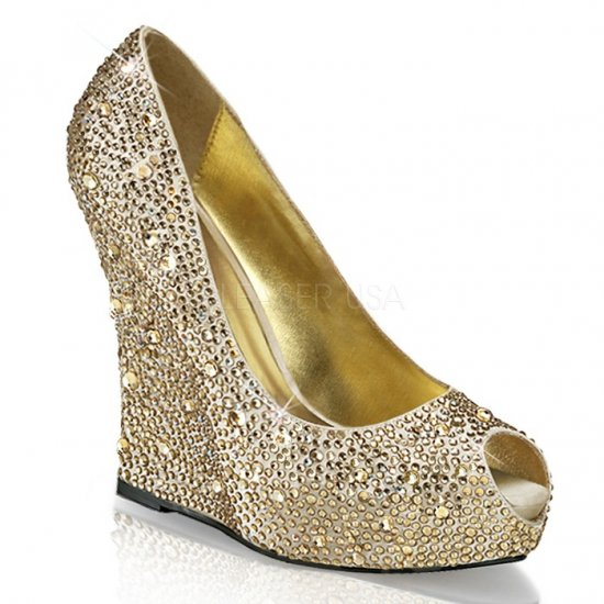 取寄せ靴 新品 ピープトゥ ウェッジソール きらきらラインストーン付き 厚底パンプス 13.5cmヒール シャンパン サテン 大きいサイズ…