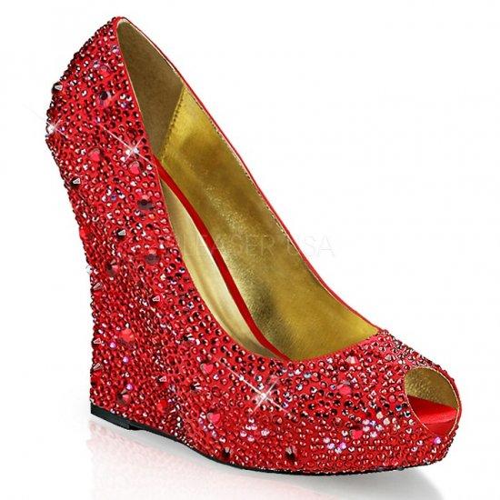 取寄せ靴 新品 ピープトゥ ウェッジソール きらきらラインストーン付き 厚底パンプス 13.5cmヒール 赤 レッド サテン 大きいサイズ…