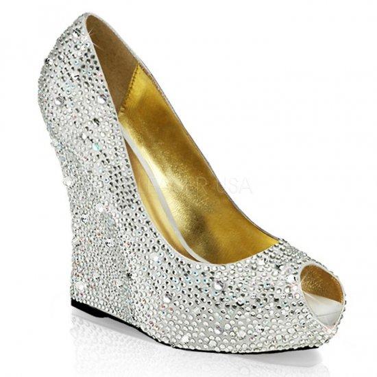 取寄せ靴 新品 ピープトゥ ウェッジソール きらきらラインストーン付き 厚底パンプス 13.5cmヒール 銀 シルバー サテン 大きいサイズ…