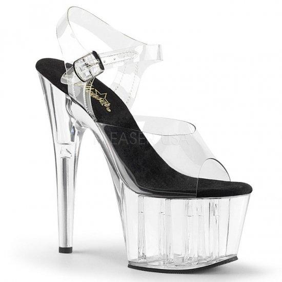 取寄せ靴 新品 ベルト付き 厚底サンダル 17.5cmピンヒール 黒 ブラック クリア Pleaserプリーザー 大きいサイズ…