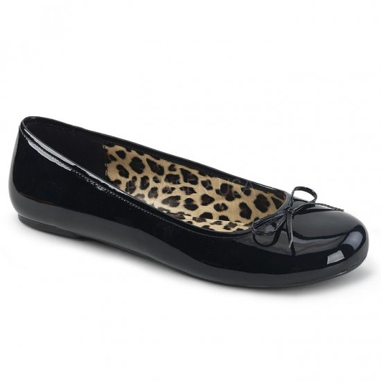 取寄せ靴 新品 かわいい アニマル柄 ぺたんこ パンプス フラット 黒 ブラック エナメル 大きいサイズあり