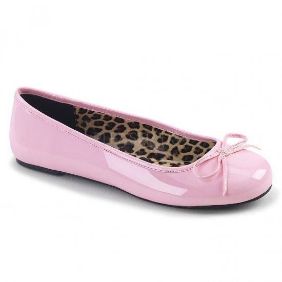 取寄せ靴 新品 かわいい アニマル柄 ぺたんこ パンプス フラット ベビーピンク エナメル 大きいサイズあり