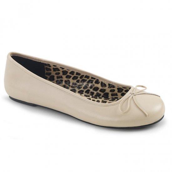 取寄せ靴 新品 かわいい アニマル柄 ぺたんこ パンプス フラット クリーム フェイクレザー 大きいサイズ…