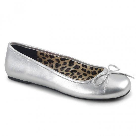 取寄せ靴 新品 かわいい アニマル柄 ぺたんこ パンプス フラット 銀 シルバー つや消し 大きいサイズあり