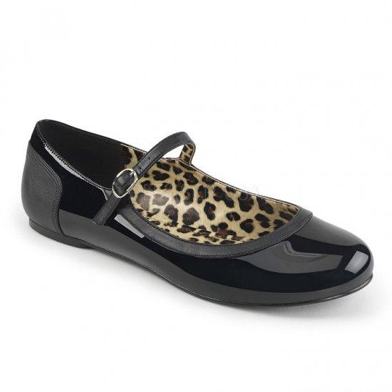 取寄せ靴 新品 かわいい アニマル柄 甲ストラップ ぺたんこ パンプス フラット 黒 ブラック エナメル 大きいサイズ…