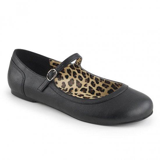 取寄せ靴 新品 かわいい アニマル柄 甲ストラップ ぺたんこ パンプス フラット 黒 ブラック フェイクレザー 大きいサイズ…