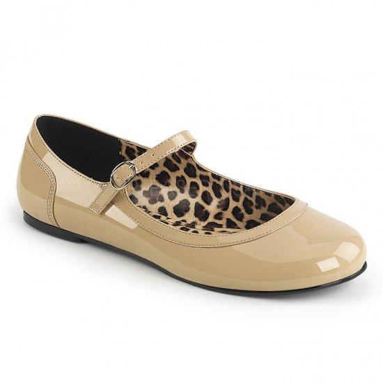 取寄せ靴 新品 かわいい アニマル柄 甲ストラップ ぺたんこ パンプス フラット クリーム エナメル 大きいサイズ…
