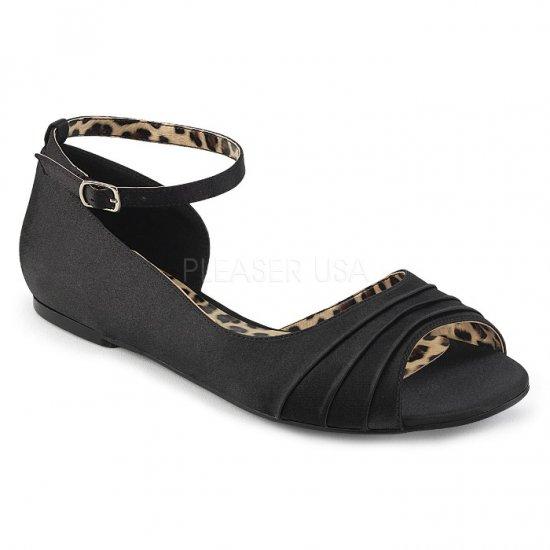取寄せ靴 新品 かわいい アニマル柄 アンクルベルト 片側 オープンタイプ ぺたんこ パンプス フラット 黒 ブラック サテン 大きいサイズ…