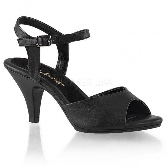 取寄せ靴 新品 ベルト付き 薄厚底サンダル 7.5cmヒール 黒 ブラック フェイクレザー つや消し 大きいサイズ…