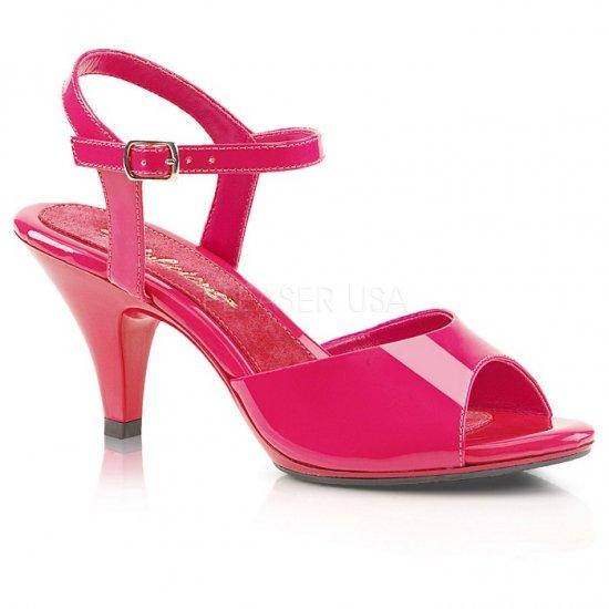 取寄せ靴 新品 ベルト付き 薄厚底サンダル 7.5cmヒール ホットピンク エナメル 大きいサイズあり