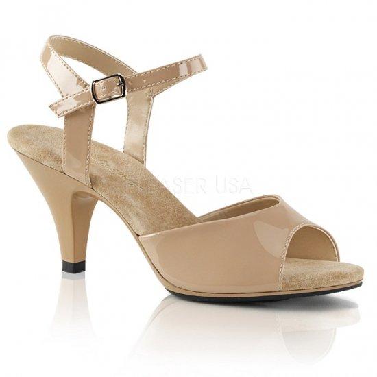 取寄せ靴 新品 ベルト付き 薄厚底サンダル 7.5cmヒール 肌色 ヌード エナメル 大きいサイズあり