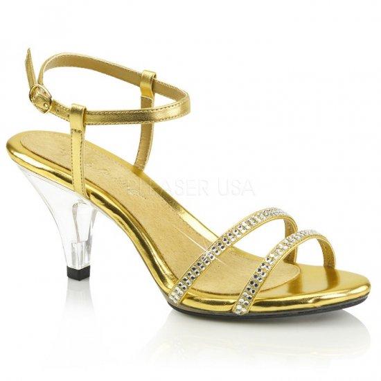 取寄せ靴 新品 きらきらラインストーン付きストラップ ベルト付き 薄厚底サンダル 7.5cmクリアヒール 金 ゴールド つや消し クリア 大きいサイズ…