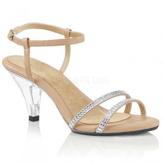 取寄せ靴 新品 きらきらラインストーン付きストラップ ベルト付き 薄厚底サンダル 7.5cmクリアヒール 肌色 ヌード フェイクレザー クリア 大きいサイズ…