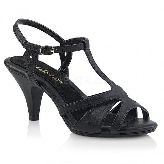 取寄せ靴 新品 Tストラップ ベルト付き 薄厚底 サンダル 7.5cmヒール 黒 ブラック フェイクレザー つや消し 大きいサイズ…