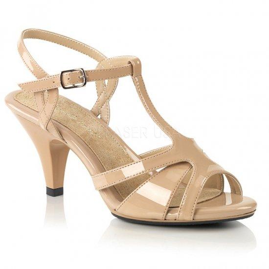 取寄せ靴 新品 Tストラップ ベルト付き 薄厚底 サンダル 7.5cmヒール 肌色 ヌード エナメル 大きいサイズ…