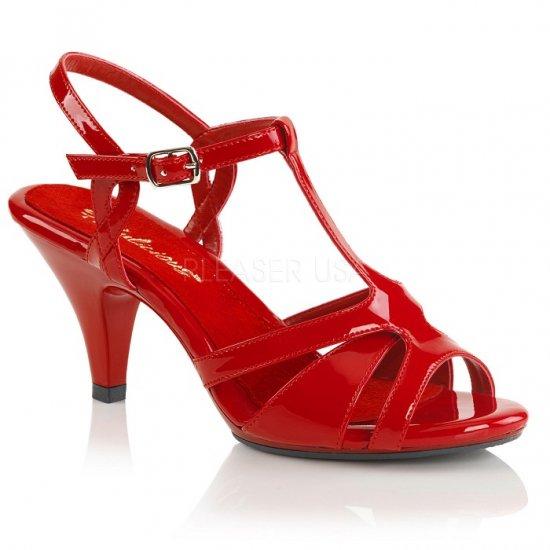 取寄せ靴 新品 Tストラップ ベルト付き 薄厚底 サンダル 7.5cmヒール 赤 レッド エナメル 大きいサイズあり