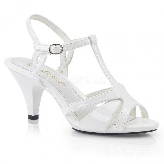 取寄せ靴 新品 Tストラップ ベルト付き 薄厚底 サンダル 7.5cmヒール 白 ホワイト エナメル 大きいサイズ…