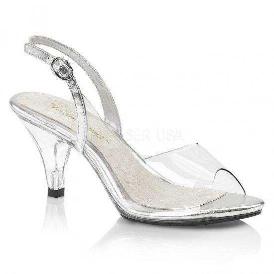 取寄せ靴 スリングバック 薄厚底 サンダル 7.5cmヒール クリア 大きいサイズあり