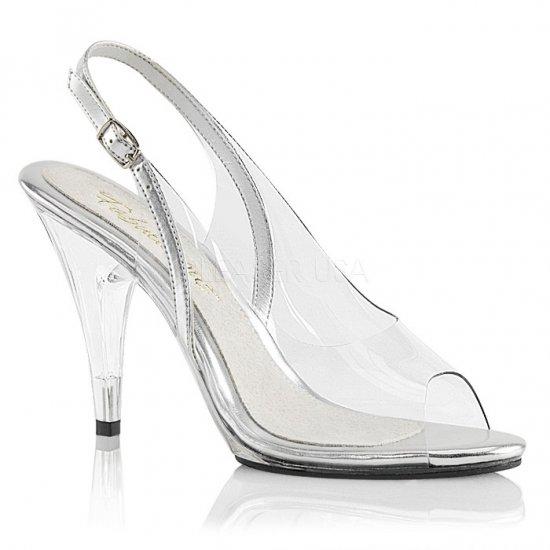 取寄せ靴 新品 スリングバック 薄厚底 サンダル 10cmヒール クリア 銀 シルバー 大きいサイズあり