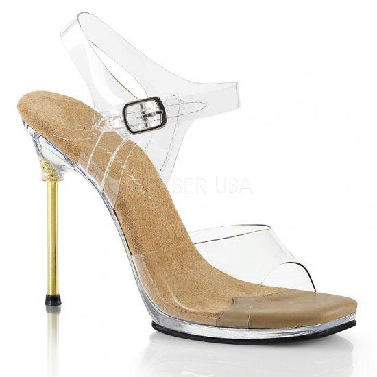 取寄せ靴 新品 ビジュー ベルト付き 薄厚底 サンダル 11.5cm ピンヒール クリア タン 大きいサイズあり