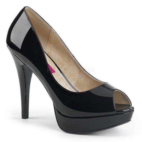 取寄せ靴 新品 ピープトゥ ハイヒール パンプス 13.5cmヒール 黒 ブラック エナメル 大きいサイズあり