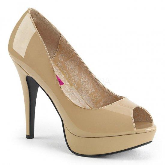 取寄せ靴 新品 ピープトゥ ハイヒール パンプス 13.5cmヒール クリーム エナメル 大きいサイズあり