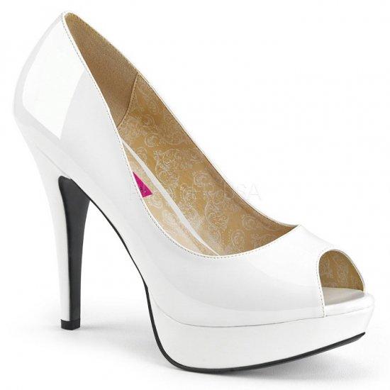 取寄せ靴 新品 ピープトゥ ハイヒール パンプス 13.5cmヒール 白 ホワイト エナメル 大きいサイズあり