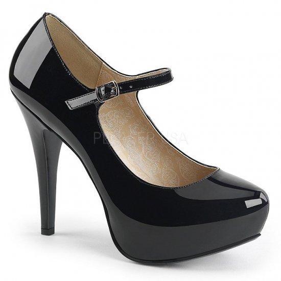 取寄せ靴 新品 ベルト付き ハイヒール パンプス 13.5cmヒール 黒 ブラック エナメル 大きいサイズあり