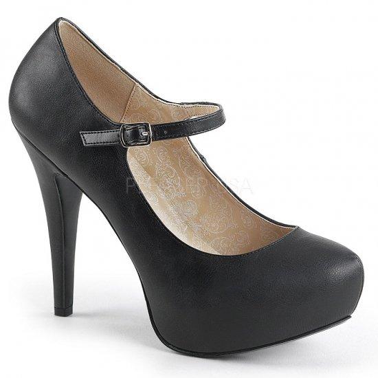 取寄せ靴 新品 ベルト付き ハイヒール パンプス 13.5cmヒール 黒 ブラック フェイクレザー 大きいサイズ…