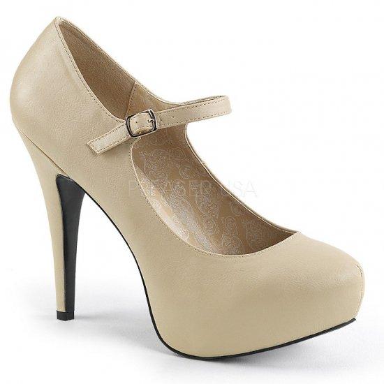 取寄せ靴 新品 ベルト付き ハイヒール パンプス 13.5cmヒール クリーム フェイクレザー 大きいサイズあり