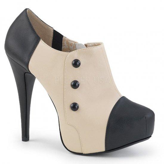 取寄せ靴 送料無料 新品 バイカラー ボタン付き 厚底 アンクル ブーツ 13.5cmヒール 黒 ブラック クリーム フェイクレザー 大きいサイズ…
