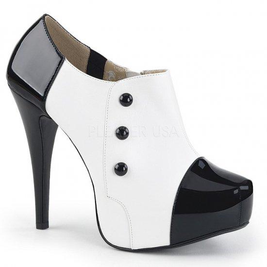 取寄せ靴 送料無料 新品 バイカラー ボタン付き 厚底 アンクル ブーツ 13.5cmヒール 黒 ブラック 白 ホワイト エナメル 大きいサイズ…
