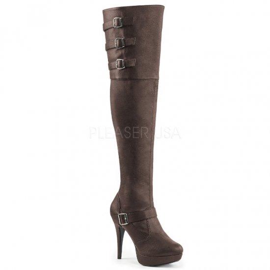 取寄せ靴 送料無料 新品 ワイドな筒周り ベルト付き 厚底 ニーハイ サイハイ ブーツ ジッパー付き 13.5cmヒール 茶 ブラウン フェイクレザー 大きいサイズ…