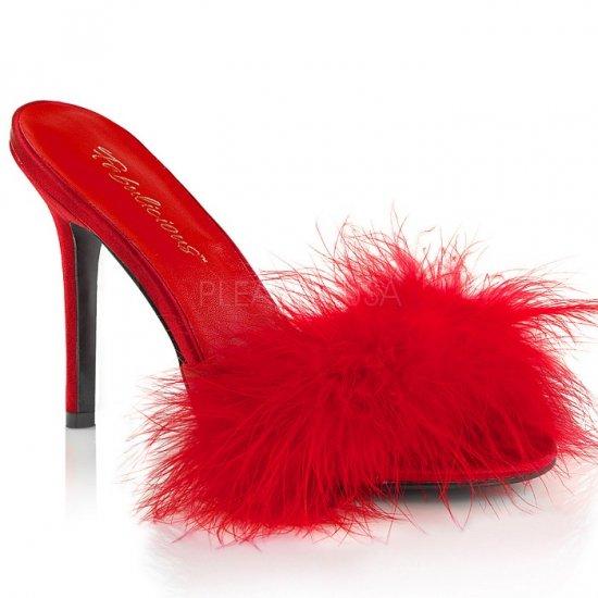 取寄せ靴 新品 ふさふさファー付き 薄厚底ミュールサンダル 10cmヒール 赤 レッド つや消し 大きいサイズ…