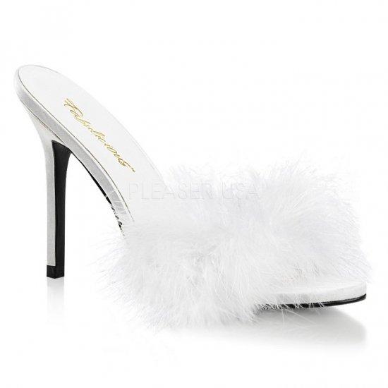 取寄せ靴 新品 ふさふさファー付き 薄厚底ミュールサンダル 10cmヒール 白 ホワイト つや消し 大きいサイズ…