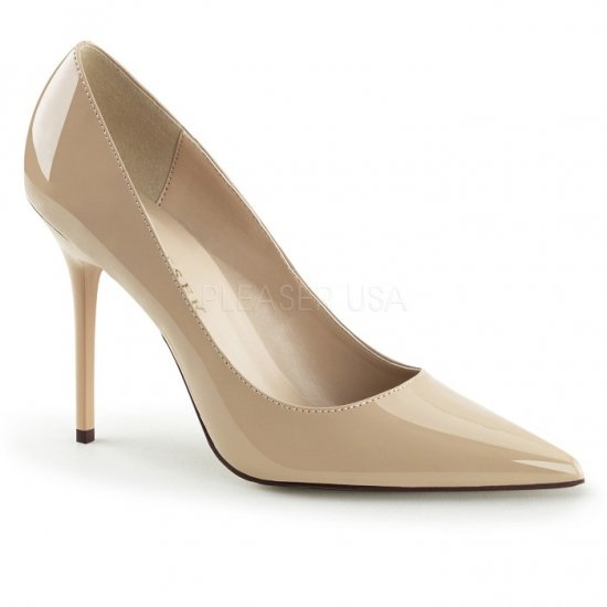 取寄せ靴 エレガントなポインテッドトゥ ハイヒールパンプス 10cmヒール クリーム エナメル Pleaserプリーザー 大きいサイズあり 豊富なカラーバリエーシ…