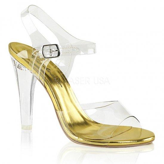 取寄せ靴 新品 ベルト付き 薄厚底 サンダル 11.5cmヒール クリア 金 ゴールド 大きいサイズあり
