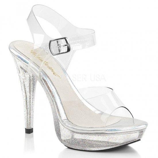 取寄せ靴 新品 キラキラ ラメ ベルト付き 薄厚底 サンダル 12.5cmヒール クリア Pleaserプリーザー 大きいサイズ…