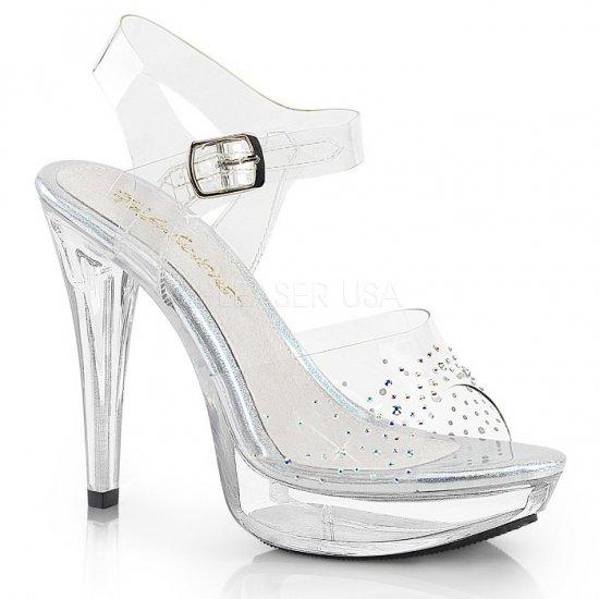 取寄せ靴 新品 キラキラ ラインストーン ベルト付き 薄厚底 サンダル 12.5cmヒール クリア Pleaserプリーザー 大きいサイズ…