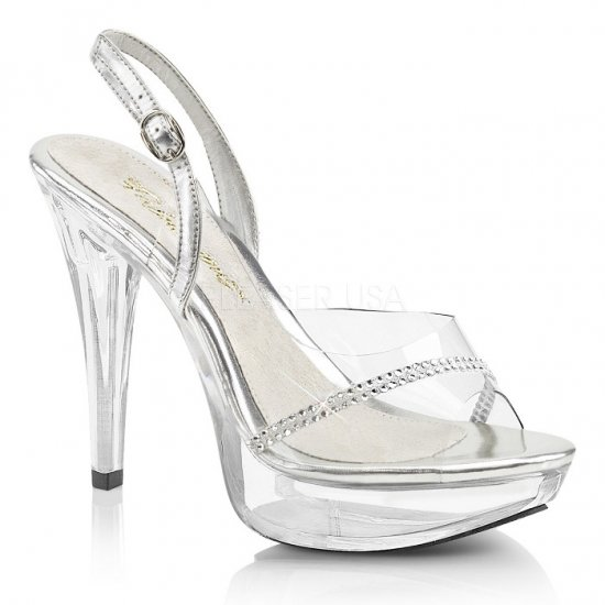 取寄せ靴 新品 キラキラ ラインストーン スリングバック 薄厚底 サンダル 12.5cmヒール クリア Pleaserプリーザー 大きいサイズ…