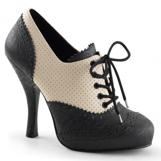 取寄せ靴 新品 レースアップ 編み上げ ハイヒールパンプス 11.5cmヒール クリーム 黒 ブラック つや消し PINUP COUTURE by Pleaserプリーザー 大きいサイズ…