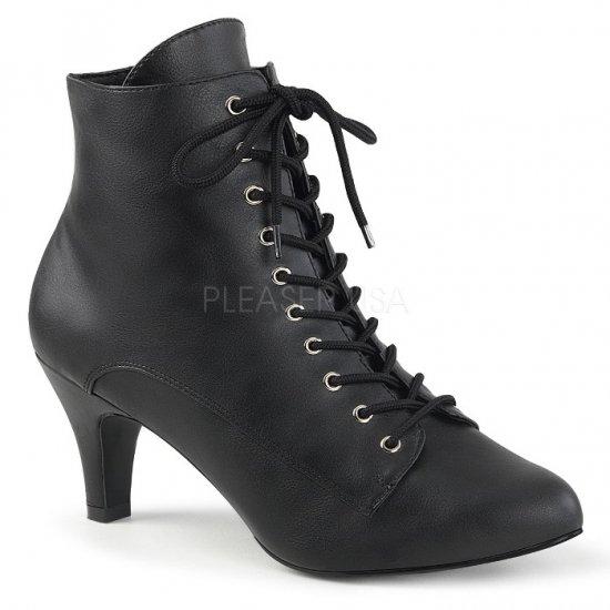 取寄せ靴 送料無料 レースアップ 編み上げ アンクル ブーツ 7.5cmヒール ジッパー付き 黒 ブラック フェイクレザー 大きいサイズ…