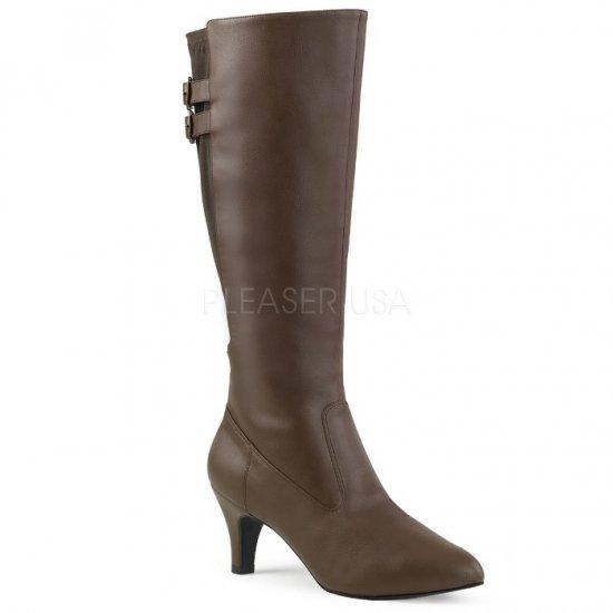 取寄せ靴 送料無料 ベルト付き ストレッチ ロング ブーツ 7.5cmブロックヒール ジッパー付き 茶 ブラウン フェイクレザー 大きいサイズ…