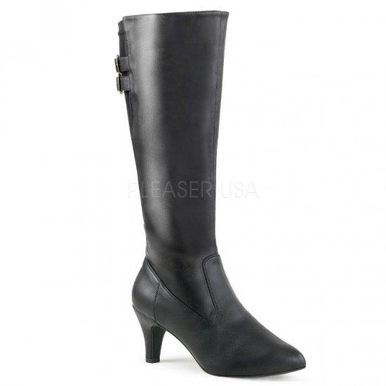 取寄せ靴 送料無料 ベルト付き ストレッチ ロング ブーツ 7.5cmブロックヒール ジッパー付き 黒 ブラック フェイクレザー 大きいサイズ…