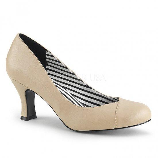取寄せ靴 新品 パンプス 7.5cmキトゥンヒール クリーム フェイクレザー 大きいサイズあり